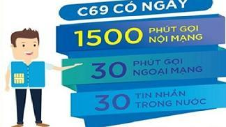 Gói cước C69 của Vinaphone - 1500 phút nội mạng miễn phí